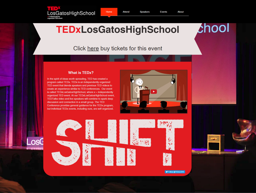 Come See Us at TEDx Los Gatos High School!  April 15, 2017